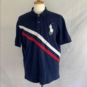 Ralph Lauren Polo Shirt Men's Size XL Blue Striped